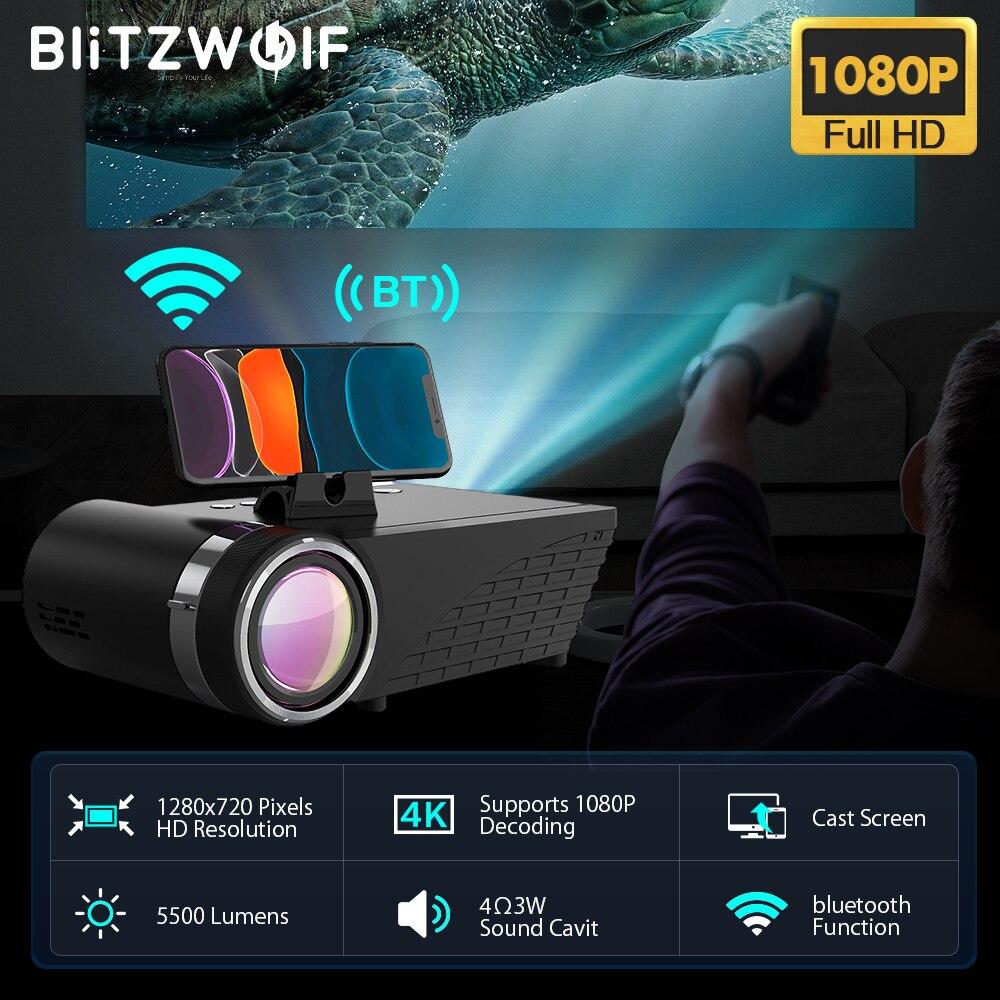 BlitzWolf BW-VP8 WI-FI проектор 5500 люмен ЖК-дисплей светодиодный литой Экран наушники звук Беспроводной телефон тот же Экран Full HD 1080P