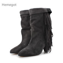 Fringe Botas Mujer Ankle Boots For Women Short Boots Women Cow Suede Chelsea Boots Sexy High Heels Shoes Woman Zapatos De Mujer(China)