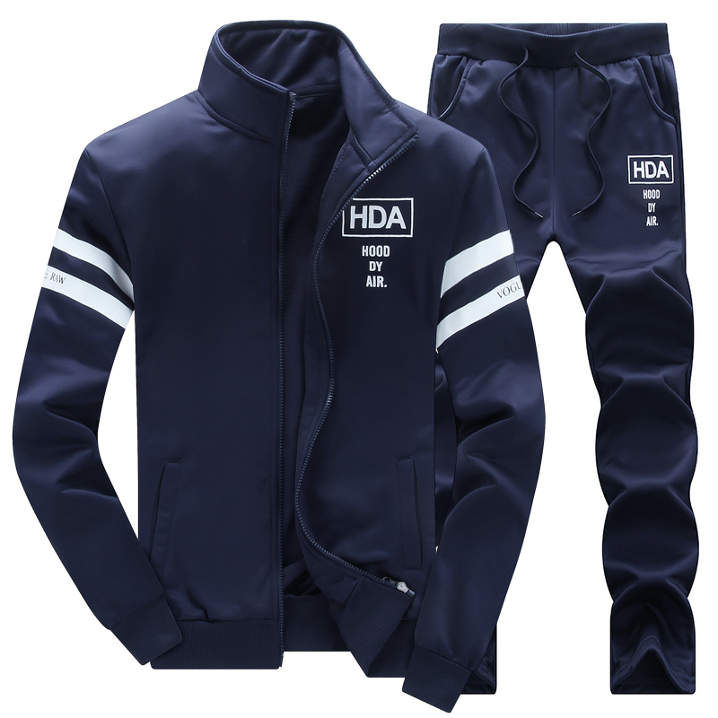 2019 New Men Sets Fashion Sporting Suit Brand Patchwork Zipper Sweatshirt +Sweatpants Mens Clothing 2 Pieces Sets Slim Tracksuit