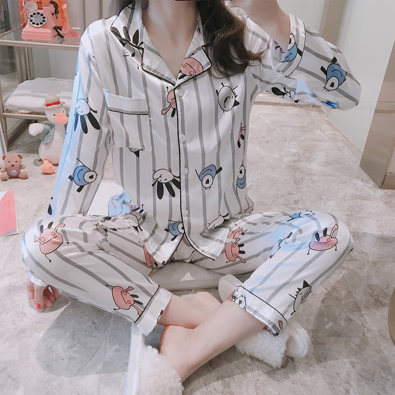 Young Women Pajamas Set Silk Ladies Long-sleeved Spring Autumn Pyjama Loose Girl Home Set Comfortable Thin Sleepwear Top+ Pants