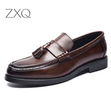 High Quality Men Leather Formal Loafers Korean Version Tassels Slip-On Driver Dress Pointed Toe Moccasin Wedding Shoes
