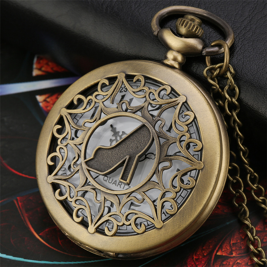 Antique Bronze Lady High Heels  Hollow Hunter Design Quartz Pocket Watch Pendant Necklace Clock Retro Women Pocket Clock Gifts