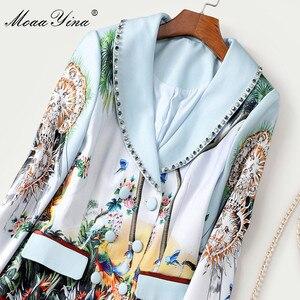 Image 5 - MoaaYina אופנה מעצב שמלת אביב סתיו נשים של שמלה ארוך שרוול הדפסת חרוזים טור כפתורים כפול קפלים שמלות