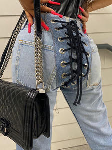 Cryptographic Jeans Women Lace-Up Denim Pants Harajuku Streetwear Blue High-Waist Sexy