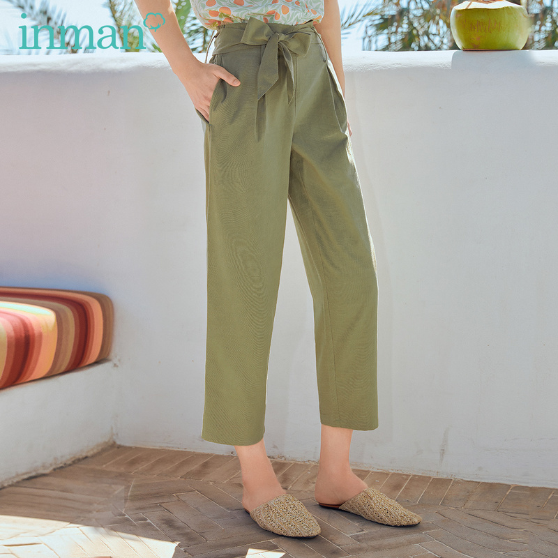 INMAN 2020 Summer New Arrival High Waist Bow Nipped Waist Loose Harem Women's Pant