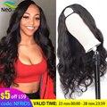 Бесплатная доставка, парик U-образной формы, человеческие волосы, 180 плотность, без клея, человеческие волосы, парики 10 А, бразильские натурал...