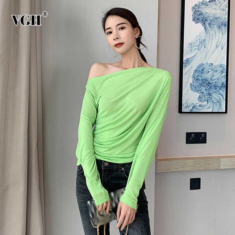 VGH coréen One épaule femmes t-shirts asymétrique col à manches longues grande taille décontracté femmes chemises 2019 automne mode nouveau