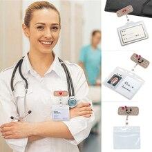 Badge Reels Alligator-Clip Nurse-Accessories Retractable Students Cute Felt Smile Face