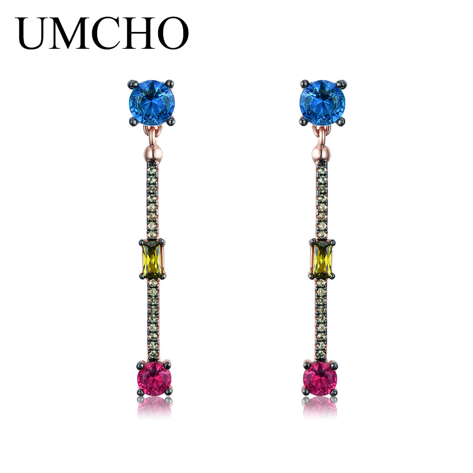 UMCHO Created Nano Blue Citrine Ruby Long Earrings 925 Sterling Silver Drop Earrings For Women Lover Anniversary Romatic Gift