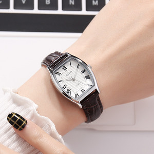 Image 2 - نساء موضة عادية جلد طبيعي حزام ساعة أنثى خمر ريترو مقاوم للماء ساعات اليومية أنيق السيدات سبيكة مشبك ساعة