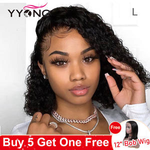 YYONG Human-Hair-Wigs Short Bob-Wig Hairline Water-Wave Lace-Front Pre-Plucked Brazilian