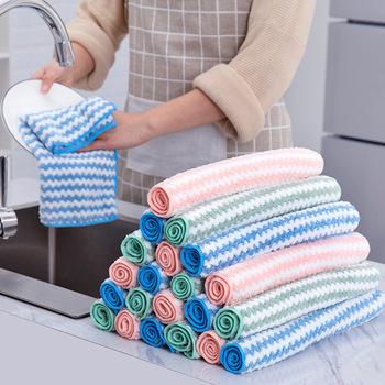 Wielofunkcyjny domu do mycia naczyń ręcznik do czyszczenia w paski chłonna ściereczka czyszcząca z mikrofibry przybory kuchenne ścierki tanie i dobre opinie CN (pochodzenie) Na stanie NAKŁADKA DO MYCIA PODŁOGI KİTCHEN Mikrofibra C458z kitchen towels for dishes microfiber cloth