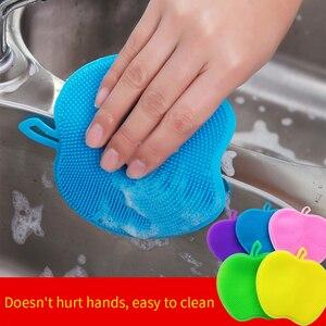 2pcsMultifunctional kitchen cleaning brush household cleaning cloth vegetable melon cloth sponge wipe silicone dishwashing brush