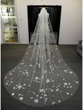 High End Customized Soft Tulle Woman Chapel Bridal Veils White/Ivory Veil for 3D Flowers Wedding