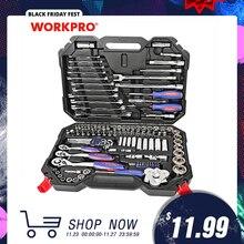 WORKPRO conjunto de herramientas de reparación de automóviles, kit de herramientas mecánicas, destornilladores, llaves inglesas de carraca, enchufes, 123 piezas