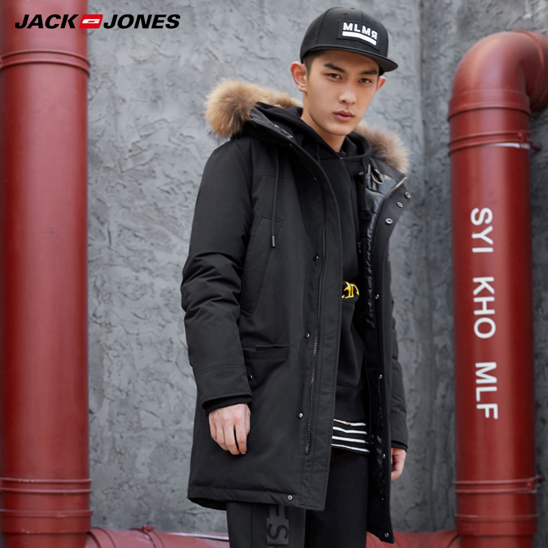 JackJones Mid-length Fur Collar Hooded Down Jacket| 218312517