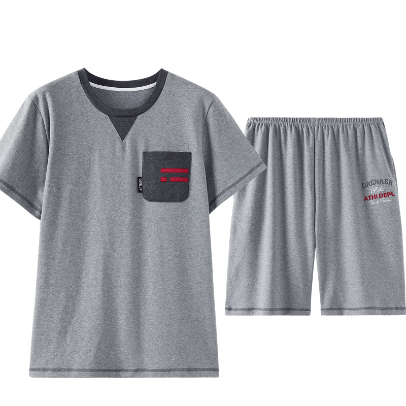 Front Pocket Crew Neck New Men Pijama Pajama Short For Men Homesuit Homeclothes Fashion Style Short Sleeve Short Pants Sleepwear