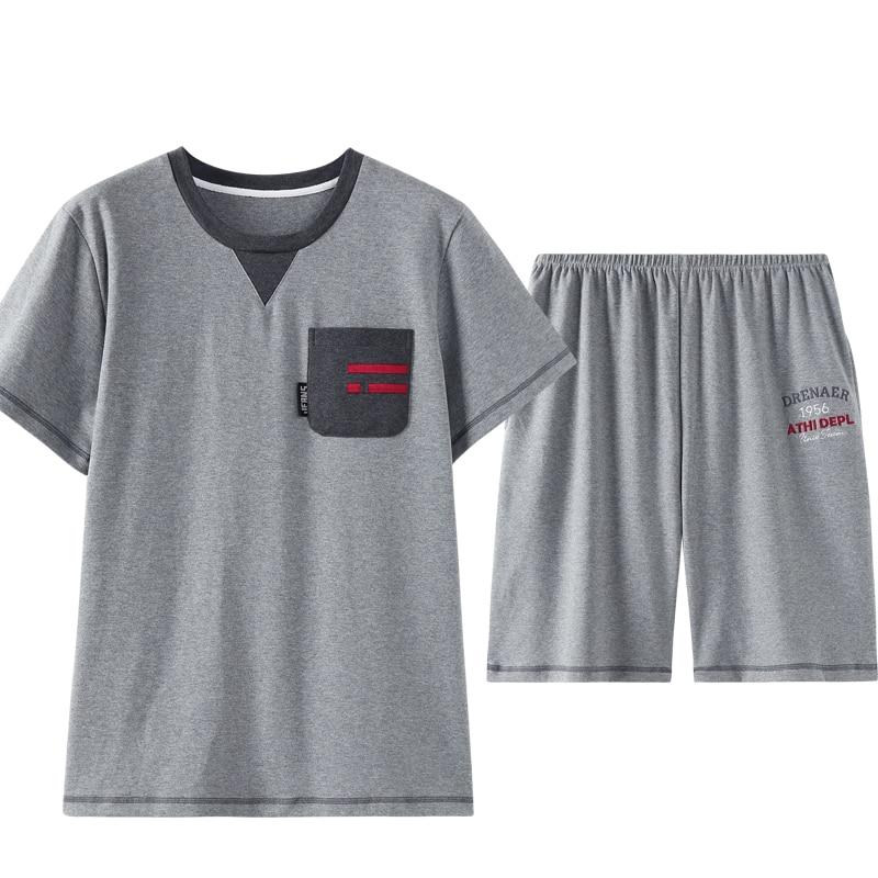 Front Pocket Crew Neck New Men Pijama Pajama Short For Men Homesuit Homeclothes Fashion Style Short Sleeve Short Pants Sleepwear