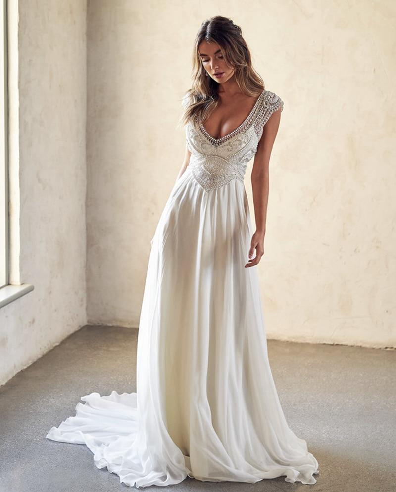 Vintage A-line Sexy  V-neck Beaded Crystals Bridal Wedding Gowns 2019 Backless Bohemian Ivory Chiffon Boho Wedding Dress Chic