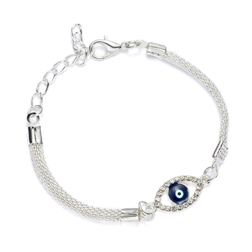 Роскошные посеребренные браслеты-шармы с фианитами и кристаллами, браслет с голубым сглаза, эмаль, турецкие бусины с удачливыми глазами, бр...