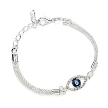 Luxury Silver Plated Charm Bracelets CZ Crystal Blue Evil Eye Bracelet Enamel Turkish Lucky Eye Beads Bracelet for Women Jewelry