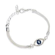 De luxe Argent Plaqué Bracelets Porte-Bonheur EN CRISTAL CZ Bleu Mauvais Œil Bracelet Émail Turc D'oeil Chanceux Perles Bracelet Pour femmes Bijoux