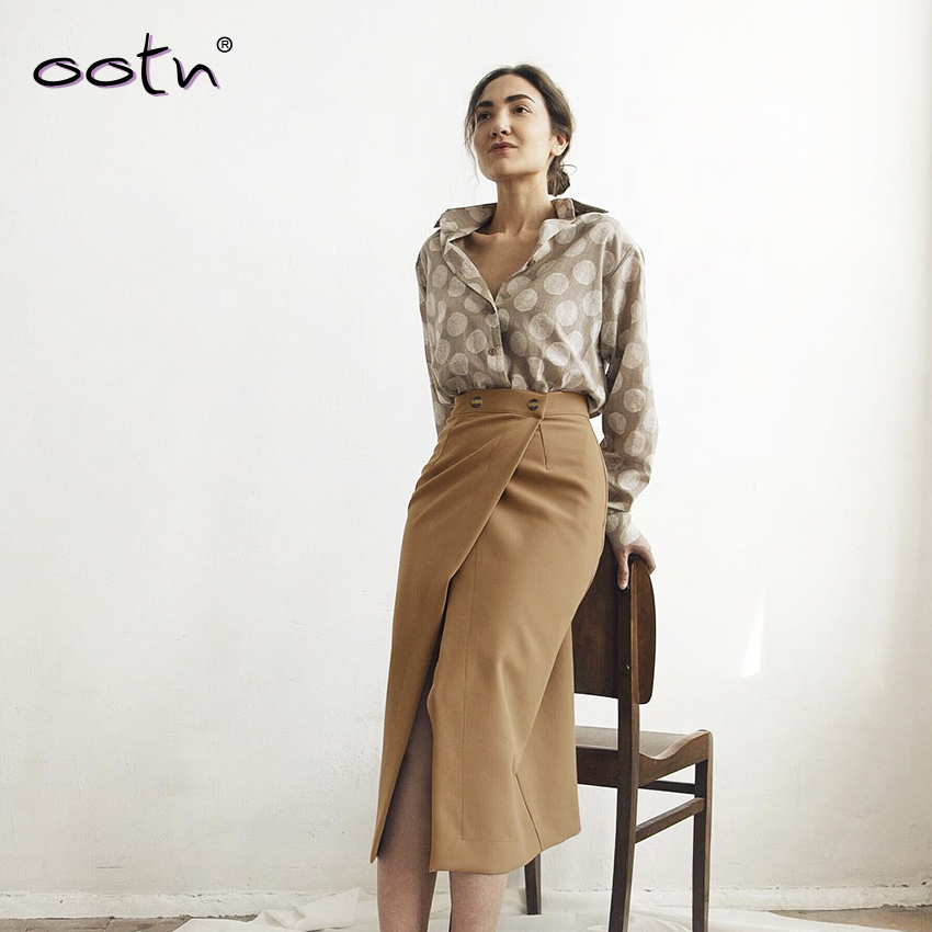 2020 Vintage Thin Brown Split Sexy Mid-Calf Skirt Women Solid Button High Waist Casual Midi Wrap Skirt Ladies Spring Summer