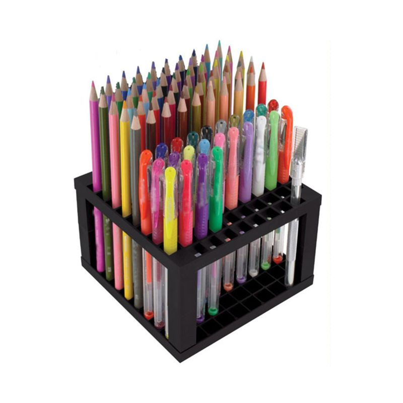 96 Hole Pencil & Brush Holder Desk Stand Organizer Holding Rack For Pens, Paint Brushes, Colored Pencils, Markers,Brushes L29K