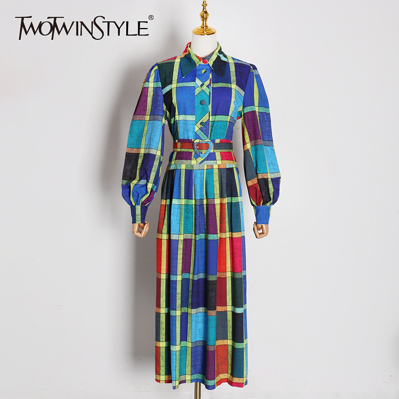 TWOTWINSTYLE Plaid Hit Color Dresses For Female Lapel Collar Lantern Long Sleeve High Waist With Sashes Dress Women Clothing New
