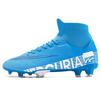 ZHENZU Outdoor mężczyźni chłopcy buty piłkarskie TF buty piłkarskie fg wysoka kostka dzieci knagi sport treningowy rozmiar butów 35-44 tanie i dobre opinie Długie Kolce Średnie (b m) 3131 RUBBER Lace-up Flywire Cotton Fabric Pasuje prawda na wymiar weź swój normalny rozmiar