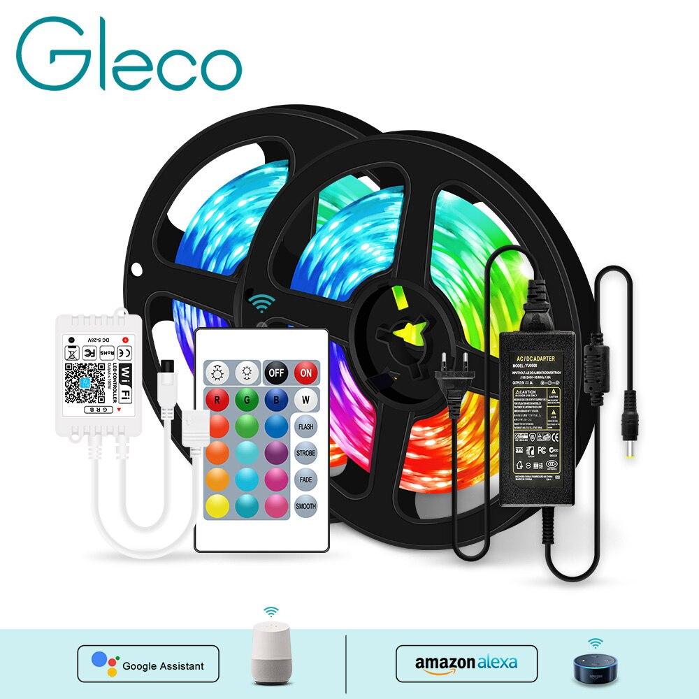 Permalink to WiFi LED Strip Light 5M/10M/15M/20M DC12V 5050 RGB String Flexible Ribbon For Amazon Alexa / Google Home WiFi Contoller+Adapter