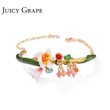 Juicy Grape pulsera de estilo de viento frío para mujer, brazalete ajustable con esmalte esmaltado, regalo para niña