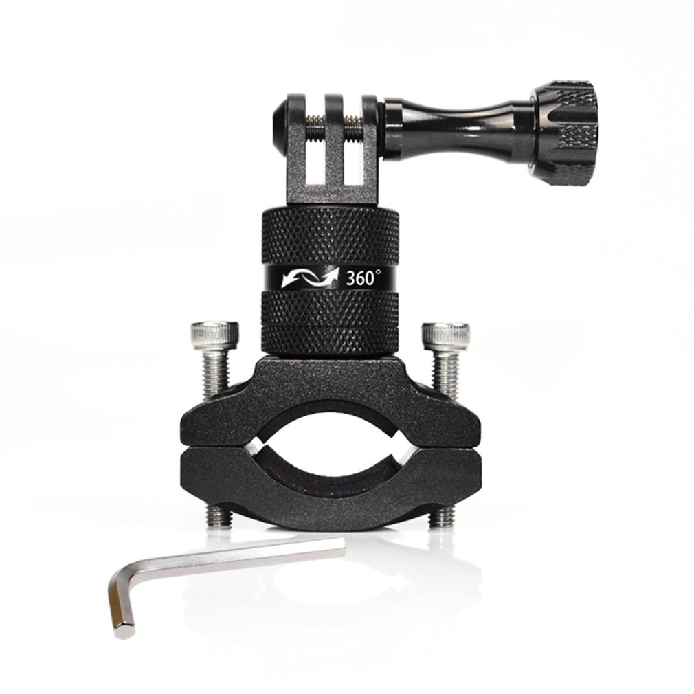Black Action Camera Bike Mount Bicycle Handlebar Clamp 360° Rotary for Gopro