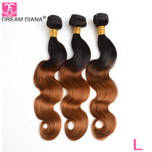"DreamDiana Ombre Brazilian Body Wave 3 Bundles Two Tones 1B 30 10""-26""L Remy Hair Bundles 100% Ombre Human Hair Weave Dark Root(China)"