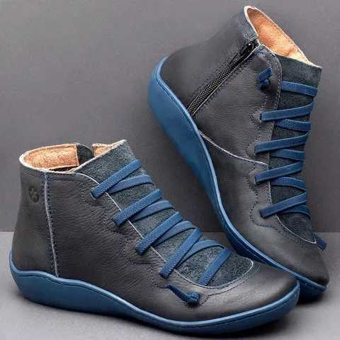 Mới Giày Bốt Nữ Đế Xuồng Nữ Phẳng Mắt Cá Chân Giày Boot Cổ Ngắn Phối Ren Plus Kích Thước PU Cổ Điển Nữ Công Sở Nữ