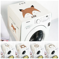 Nordic animal drum washing machine dust cover cotton linen art single door refrigerator cover waterproof can be customized