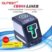 Outest 레이저 레벨 미터 적색/녹색 빔 2 라인 자동 레벨링 크로스 레이저 레벨러 레이저 수직 수평 측정기 t01 t02
