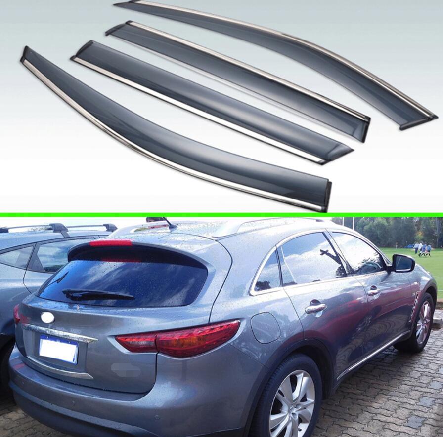 For Infiniti QX70 S51 2013 2014 2015 2016 2017 2018 2019 Plastic Exterior Visor Vent Shades Window Sun Rain Guard Deflector 4pcs