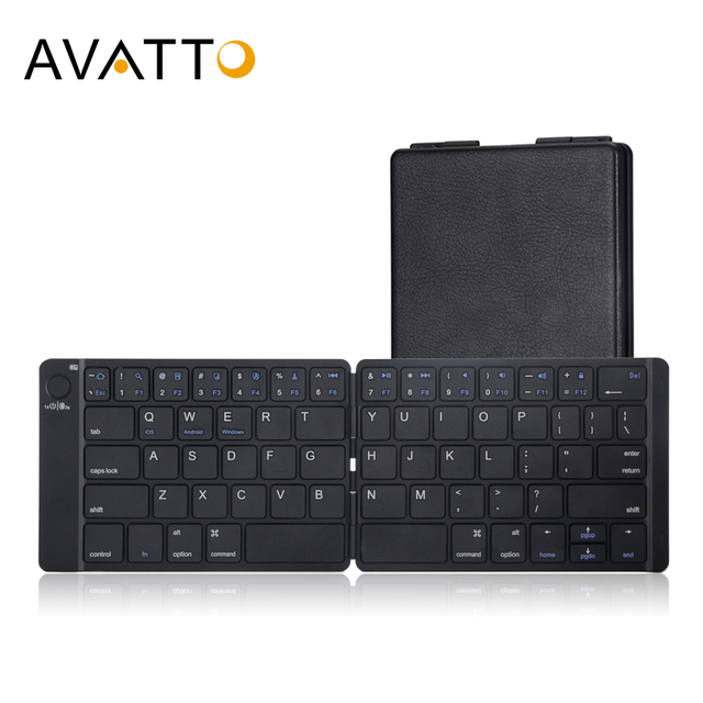 AVATTO miękka skóra przenośna angielska bezprzewodowa składana Mini klawiatura Bluetooth dla iOS, tabletu z systemem Android, ipada, telefonu