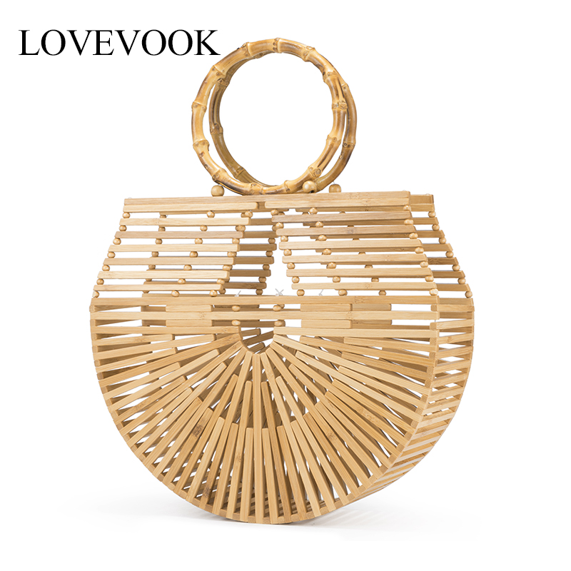 Lovevook Bamboo Bags Female Summer Beach Bags For Travel Handmade Woven Straw Bags For Women Handbags With Top-handle Bohemia
