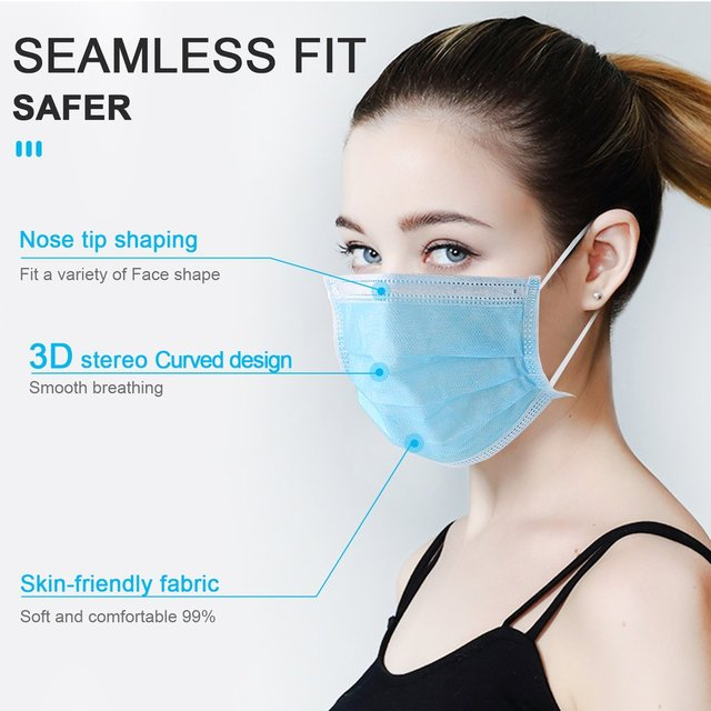 200PCS 3 layers mouth mask Anti Dust Mouth Mask Carbon Filter Windproof Mouth-muffle Bacteria Proof Flu kind Face Masks 2