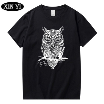 XIN YI Men's T-shirt high quality 100% Cotton owl Print Short Sleeve Knitted fabric best seller Summer loose cool t shirts men - discount item  24% OFF Tops & Tees