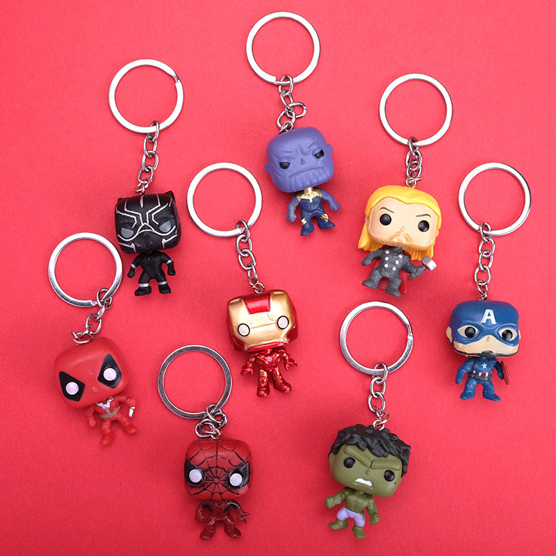 Marvel Avengers 3 Infinity War Thanos Captain America Iron Man Action Figure Thor Toy Spiderman Panther PVC Model Doll Keychain