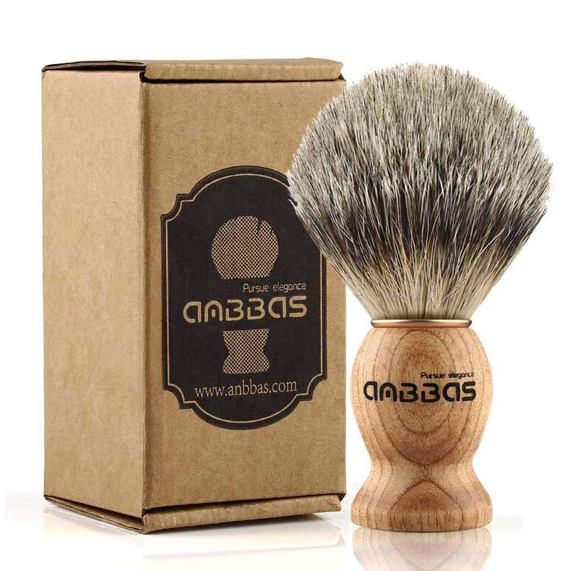 Anbbas Shaving Brush, Handmade Pure Badger Hair Brush With Wood Handle For Men Traditional Wet Shaving For Men Gift