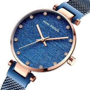 Image 3 - MINI FOCUS النساء الساعات العلامة التجارية الفاخرة موضة عادية السيدات ساعة معصم مقاوم للماء الأزرق الفولاذ المقاوم للصدأ Reloj Mujer Montre فام