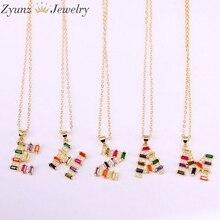 10PCS, Rainbow Colorful CZ Micro pave Letter Intitial necklace Gold Color Cubic Zirconia Pendant Charm Statement Necklace