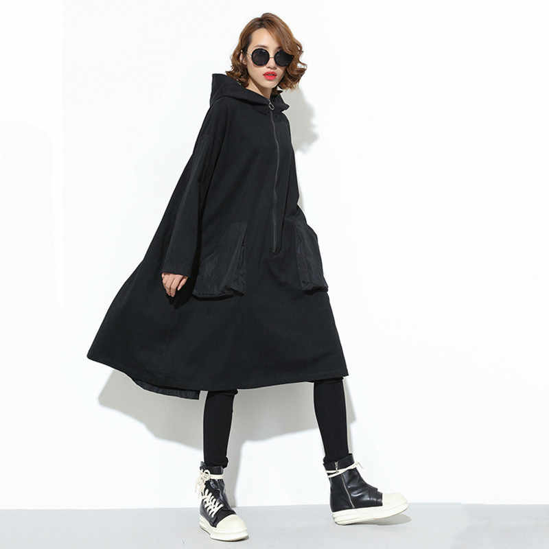 LANMREM женский черный большой карман сзади лента большой размер карман с капюшоном более размер d куртка на молнии стильные платья 2019 JD079