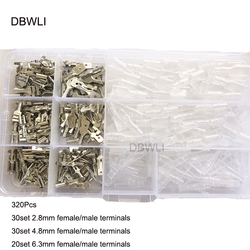 120/320 sztuk/zestaw przewód izolowany złącze elektryczne drutu zaciski 2.8/4.8/6.3mm Spade złącza zestaw asortyment