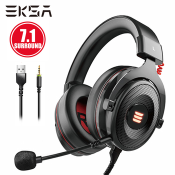 7 1 gaming headset with microphone headphones surround sound usb wired gamer earphone for pc computer xbox one ps4 rgb light EKSA E900 PRO Gamer Headset 7.1 Surround Sound 3.5mm/USB Jack Wired Gaming Headphones For PC/Xbox/PS4 with Noise-cancelling Mic