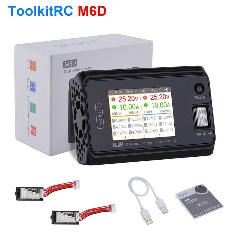 ToolkitRC M6D 500 Вт 30A Двухканальное умное зарядное устройство для Lipo LiHV Lion